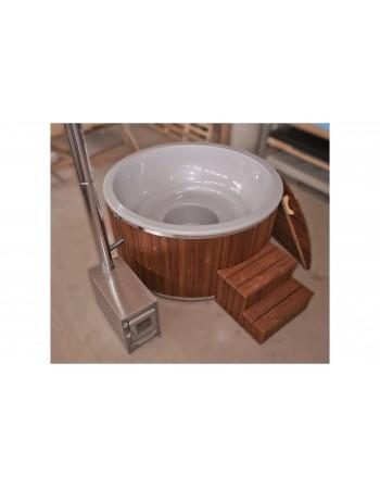 Vasca perlata in vetroresina 1,82 m. design legno TERMO + stufa