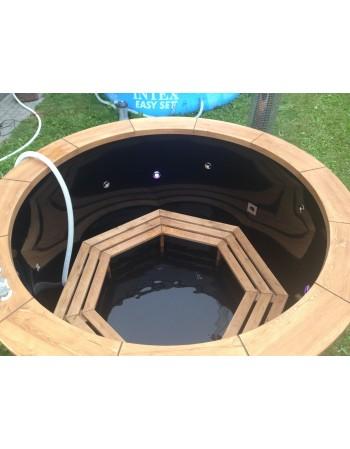 Tinozza PP 1.60 m con Jacuzzi+2 LED+isolamento+stufa design Legno Termico