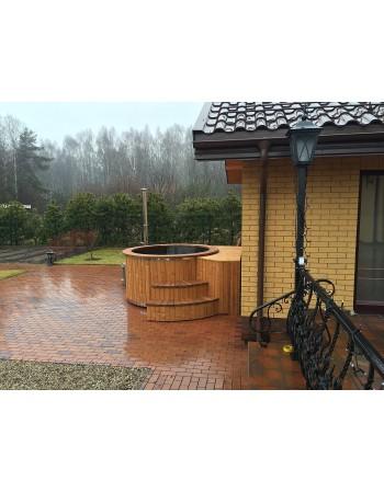 Vasca tinozza a botte in legno vasca riscaldata a legna for Vasca vetroresina giardino
