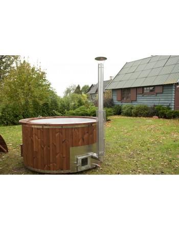 Novità !!! 1,82 m Hot Tub in Vetroresina Legno termo con stufa incorporata + 4 LED + Bolle d'aria 6 getti