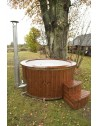 Hot Tub Wellness in Vetroresina Legno termo con stufa incorporata + 3 LED + Bolle d'aria