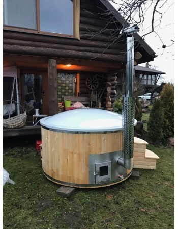 1,8 m Hot Tub in vetroresina + Larice con stufa integrata