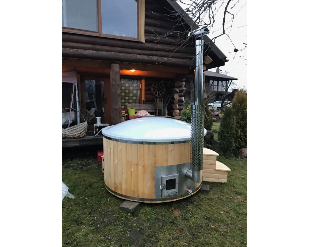1,8 m Hot Tub in vetroresina + Larice con stufa integrata