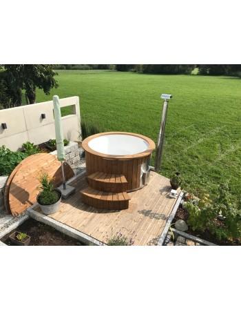Hot Tubs da esterno Vetroresina, con stufa incorporata decorata Termo legno + 3 LED + Bolle d'aria