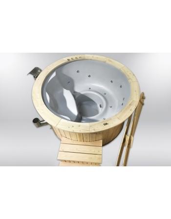 Economico 5 POSTI Hut Tubs Wellness con doppia stufa a legna e riscaldatore elettrico